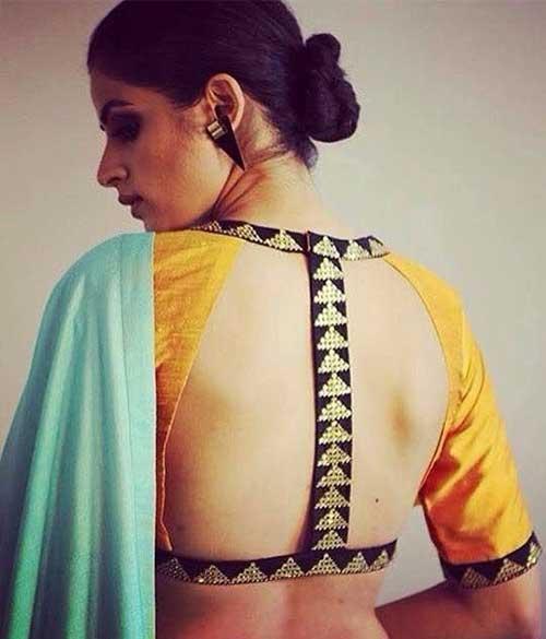 Plain Saree With Designer Blouse Ideas - Plain Green Saree With Gold Backless Blouse