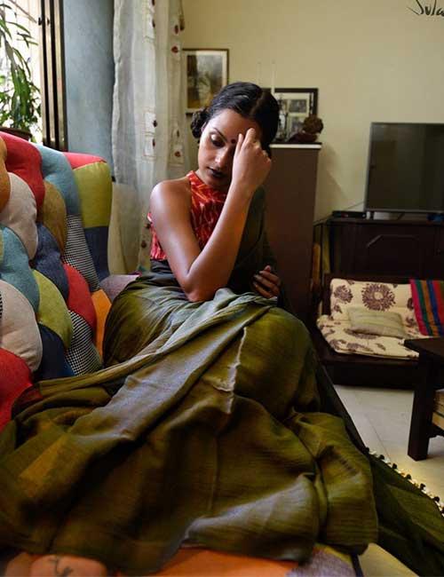 Plain Green Saree With Ikat Blouse