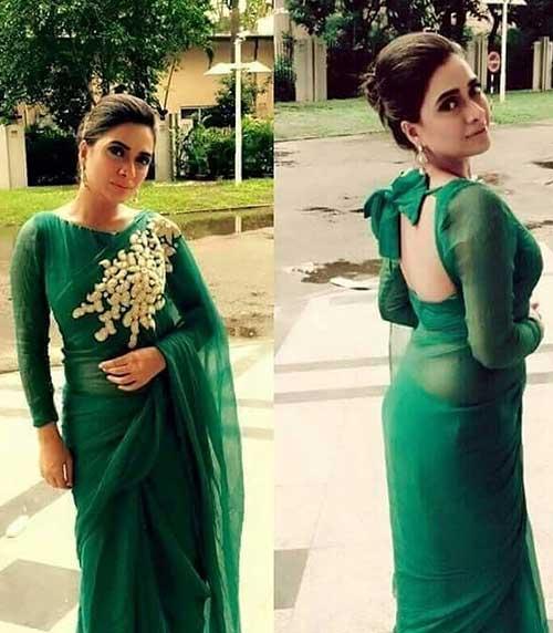 Plain Saree With Designer Blouse Ideas - Plain Olive Green Saree And Big Bow Motif