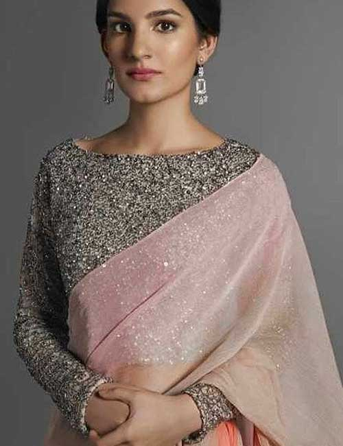 Plain Pink Saree With Sequin Blouse