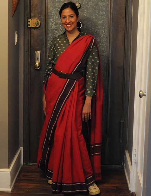 Red Georgette Saree And Polka Dots Shirt