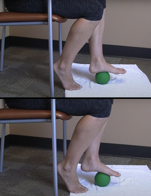 Seated Plantar Fascia Mobilization With Small Ball