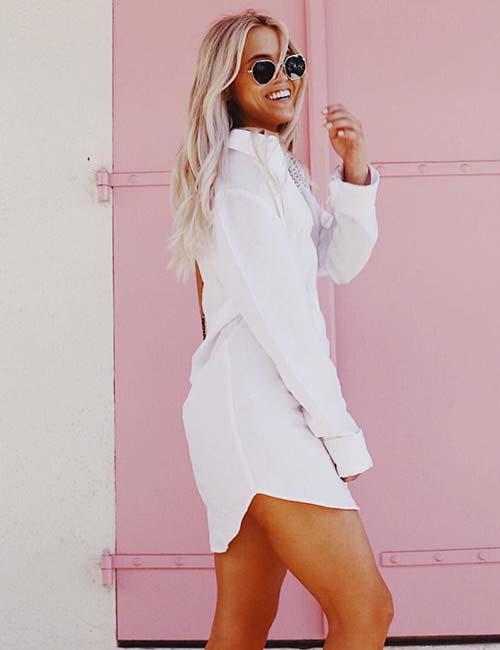 Vestido de camisa branco com botões