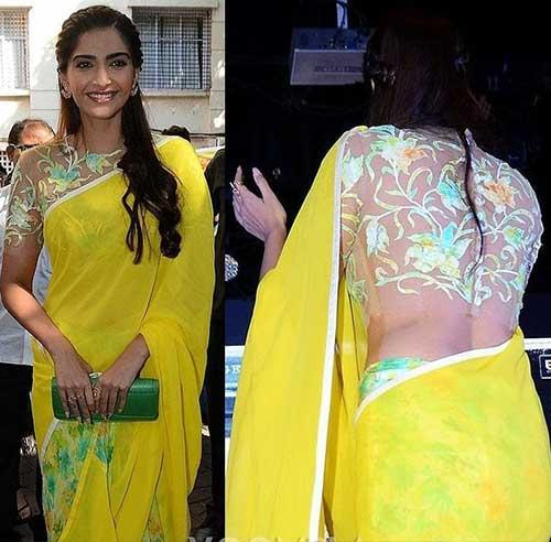 Plain Saree With Designer Blouse Ideas - Yellow Chiffon Saree With A Sheer Blouse