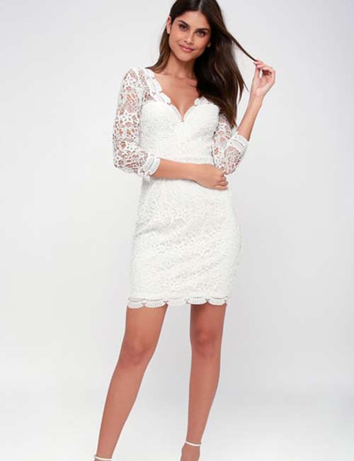 Crochet Lace Outfits - White Long Sleeve Bodycon Dress