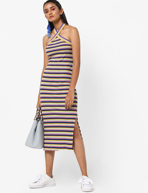 Halter Dress Ideas - Stripe Halter Neck T-Shirt Dress