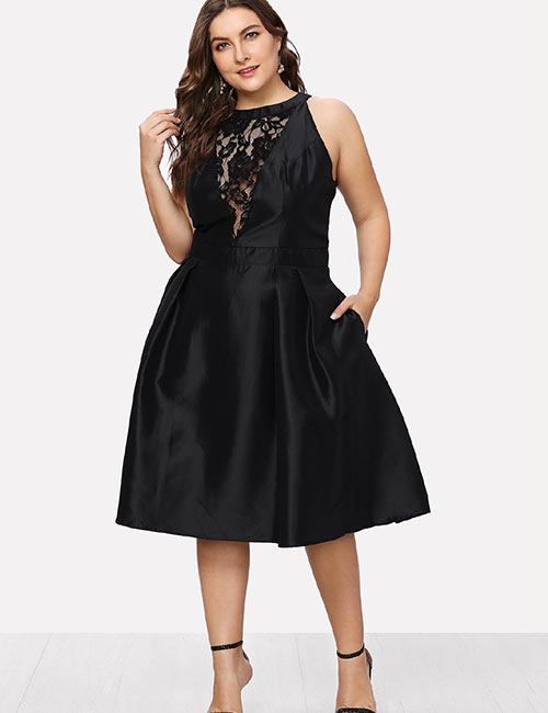 Halter Dress Ideas - Plus Size Black Halter Neck Party Dress