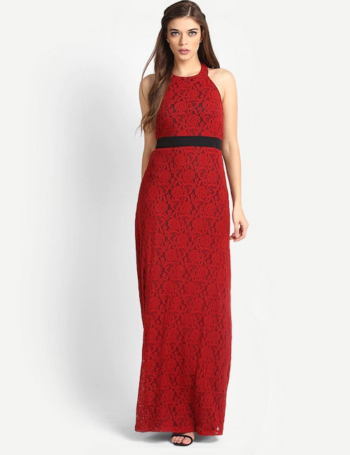 Crochet Lace Outfits - Red Lace Cocktail Dress