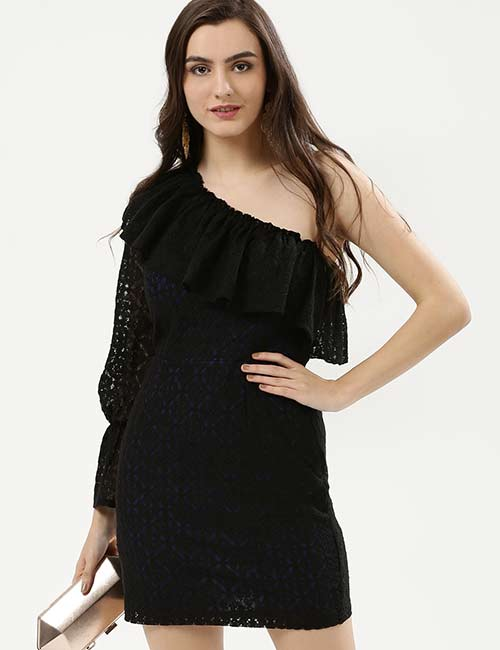 Crochet Lace Outfits - Black One-Sided Lace Shoulder Dress