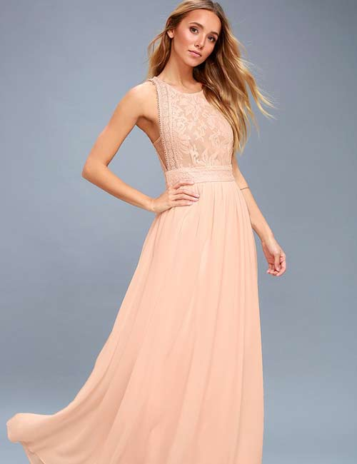 Crochet Lace Outfits - Blush Lace Maxi Dress