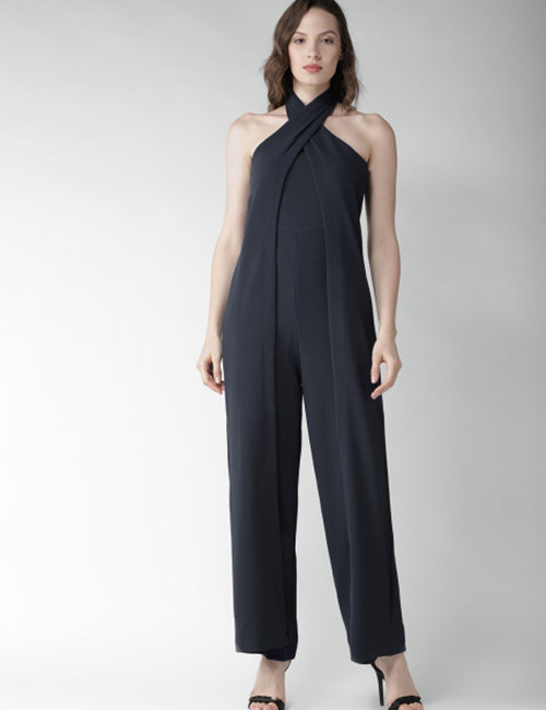 Halter Dress Ideas - Navy Blue Formal Jumpsuit