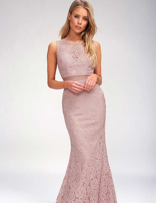 Crochet Lace Outfits - Mauve Lace Maxi Dress