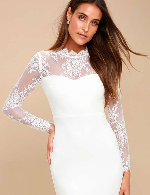 Crochet Lace Outfits - White Bodycon Dress