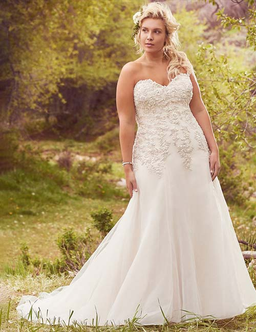 Affordable Wedding Dresses - A-Line Plus Size Dress With A Sweetheart Neckline