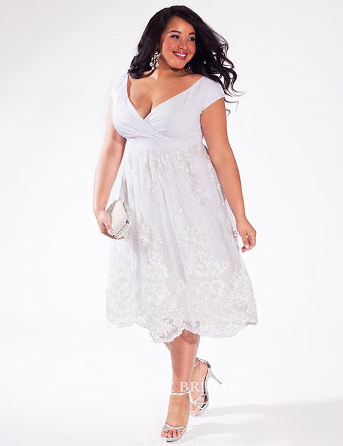 A-Line Tea Length Bridal Dress