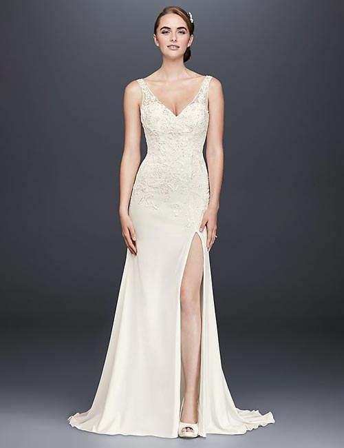 Affordable Wedding Dresses - Applique Work Lace Dress With Side Slit