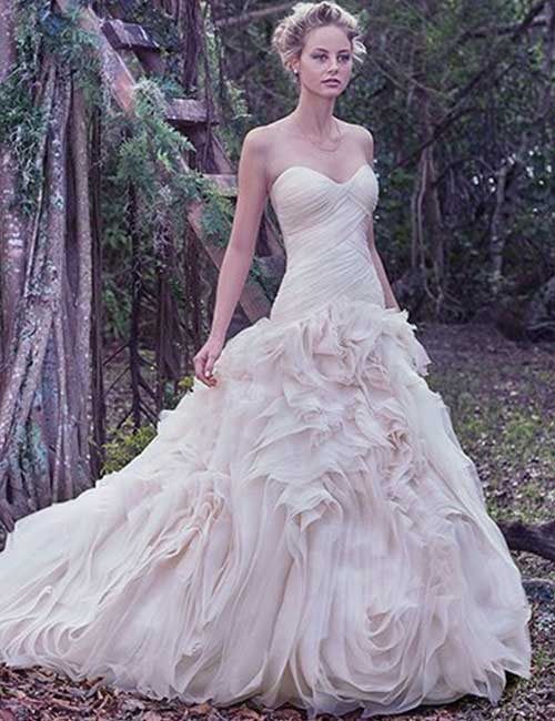 Affordable Wedding Dresses - Asymmetrically Pleated Dress