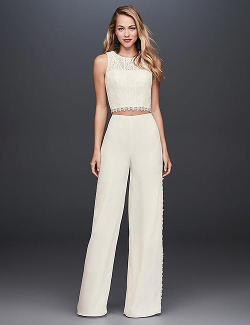 Affordable Wedding Dresses - Crop Top And Crepe Pants