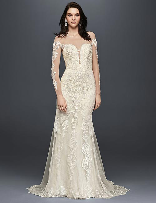 Affordable Wedding Dresses - Illusion Long Sleeves Lace Dress