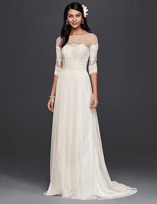 Affordable Wedding Dresses - Lace Gown With Illusion Sleeves