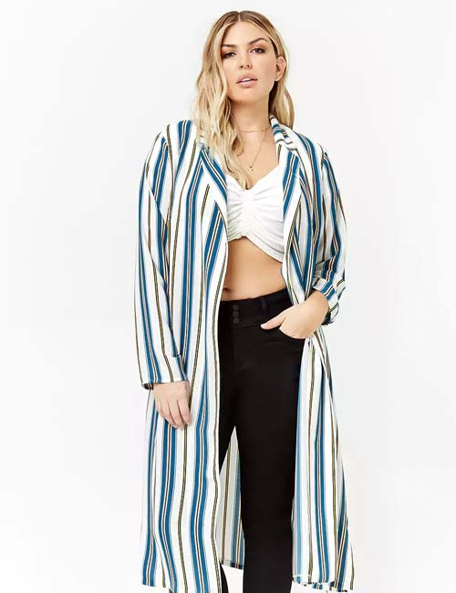 Best Plus Size Cardigans - Long-Line Stripe Cardigan
