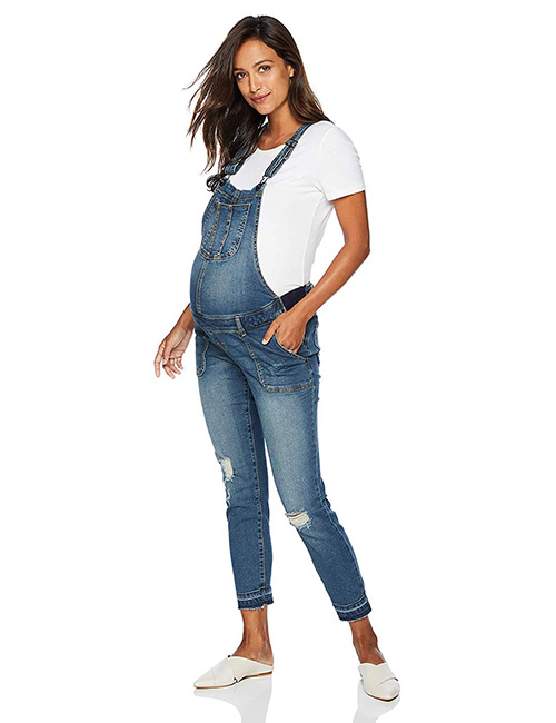 Motherhood Maternity Women's Maternity Indigo Blue Denim Overalls