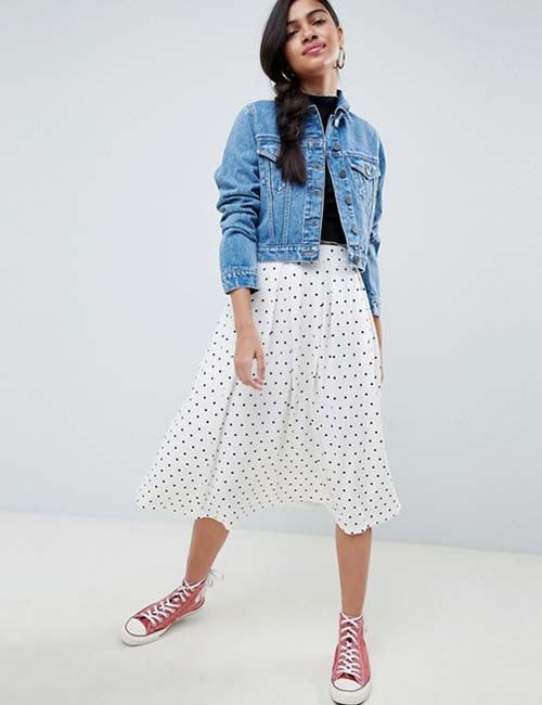 Pleated Skirt And Denim Jacket
