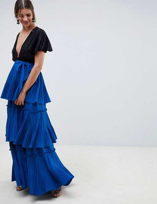 Royal Blue Tiered Pleated Skirt