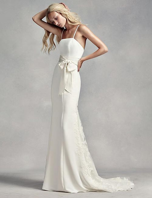 Affordable Wedding Dresses - Satin And Lace Spaghetti Dress
