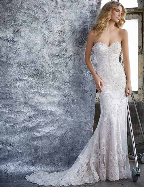 Affordable Wedding Dresses - Sheath Gown With Crystal Beading