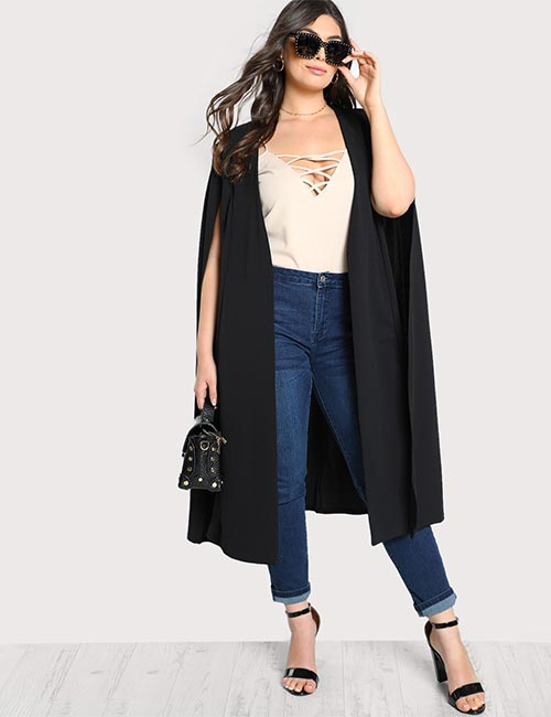 Best Plus Size Cardigans - Solid Long Cape Cardigan