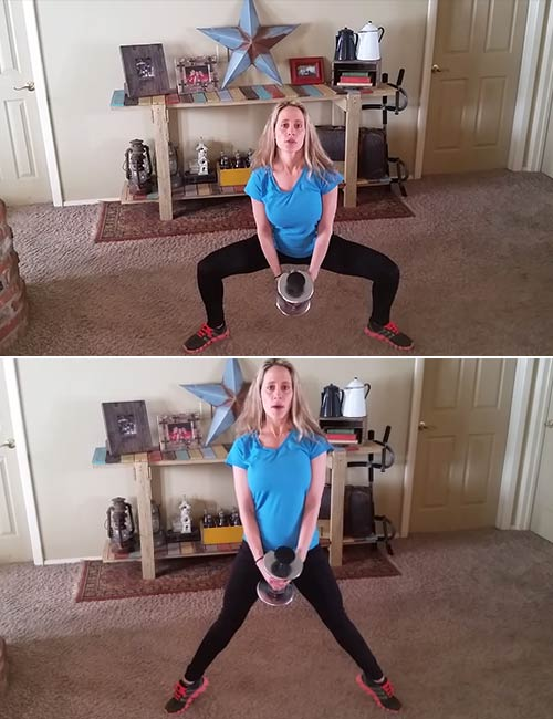 Weighted Sumo Squat With Calf Raise