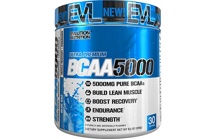 1. Evlution Nutrition BCAA5000 Powder (30 Servings, Blue Raz) 5 Grams of Premium BCAAs