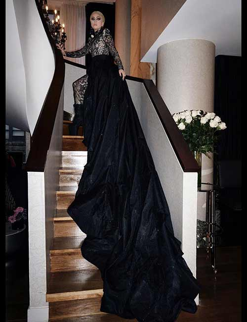Lady Gaga In A Black Train Gown - Lady Gaga Outfits