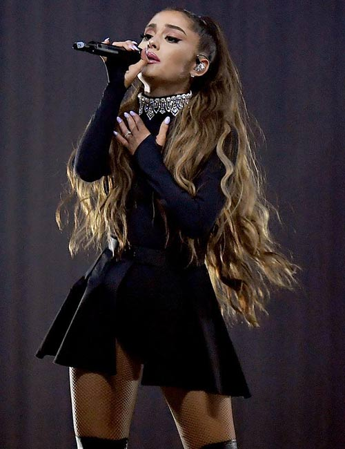 11. Ariana Grande Black Onstage Outfit