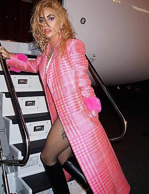 12. Lady Gaga In A Pink Fendi Jacket