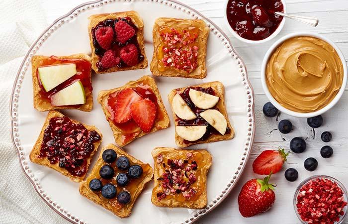 4. Nut Butter And Berries Open Sandwich