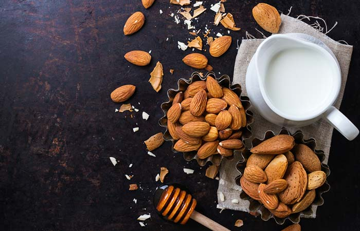 9.Milk And Crushed Almonds