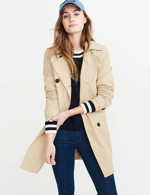 Abercrombie & Fitch Double Breasted Trench Coat