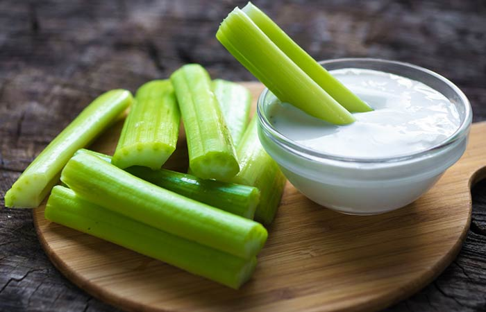Celery With Yogurt And Sour Cream Dip