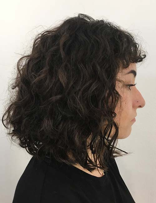 Baby Bangs Curly A-line Bob