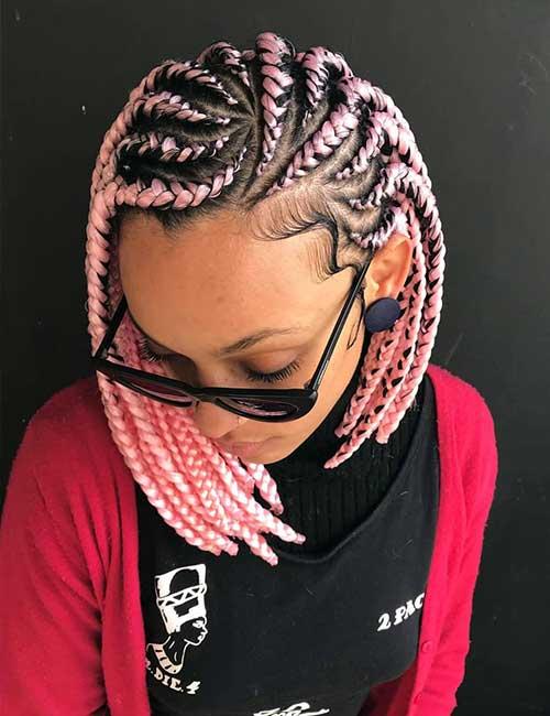 Pink Curved Braids