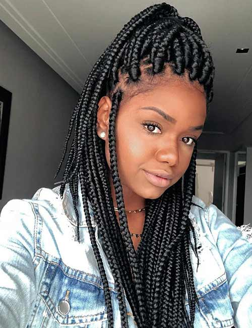 Half Ponytail Box Braids
