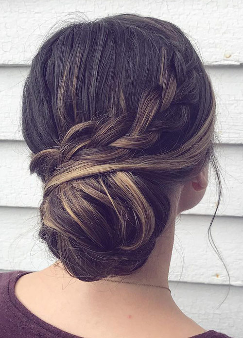 Low Bun Side Braid - Side Braid