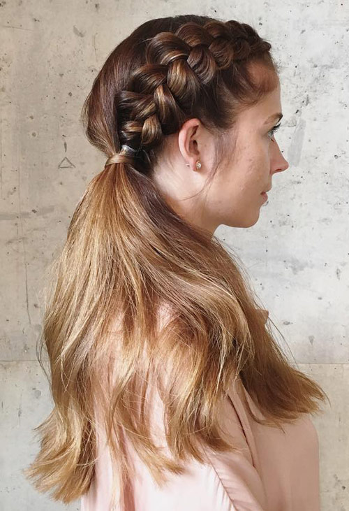 Side Braided Ponytail - Side Braid