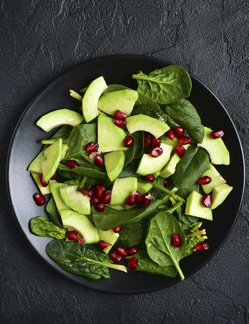 Spinach, Avocado, And Pomegranate Salad