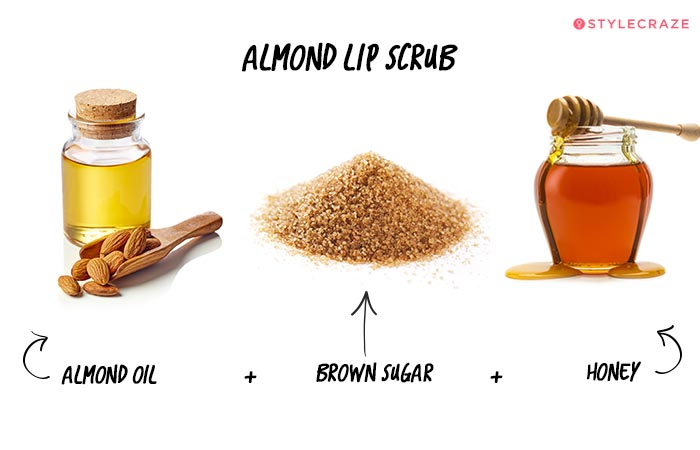 Almond Lip Scrub in Hindi