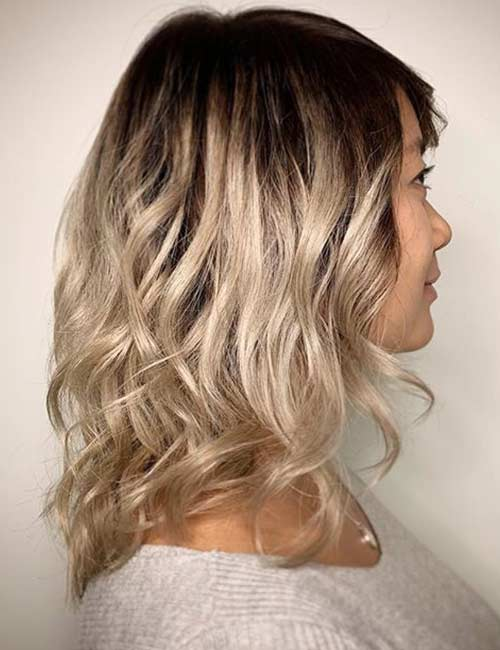 Champagne Blonde With Dark Roots