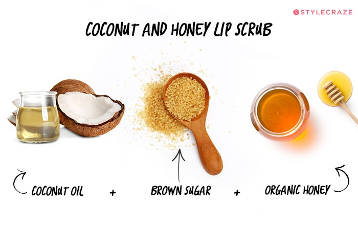 Coconut and Honey Lip scrub in Hindi