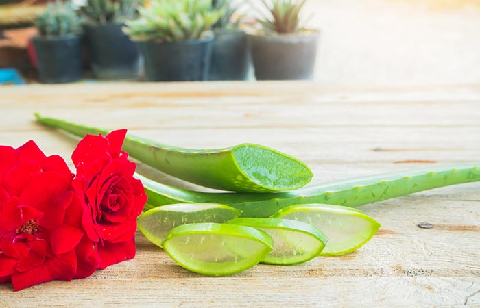 Aloe vera and rose water